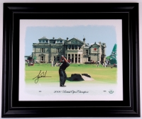 Tiger Woods Signed LE British Open 42x50 Custom Framed Photo on Canvas (UDA)