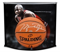 "Michael Jordan Signed Official NBA Game-Ball with Custom ""Failure Quote"" Large Curve Display (UDA COA)"