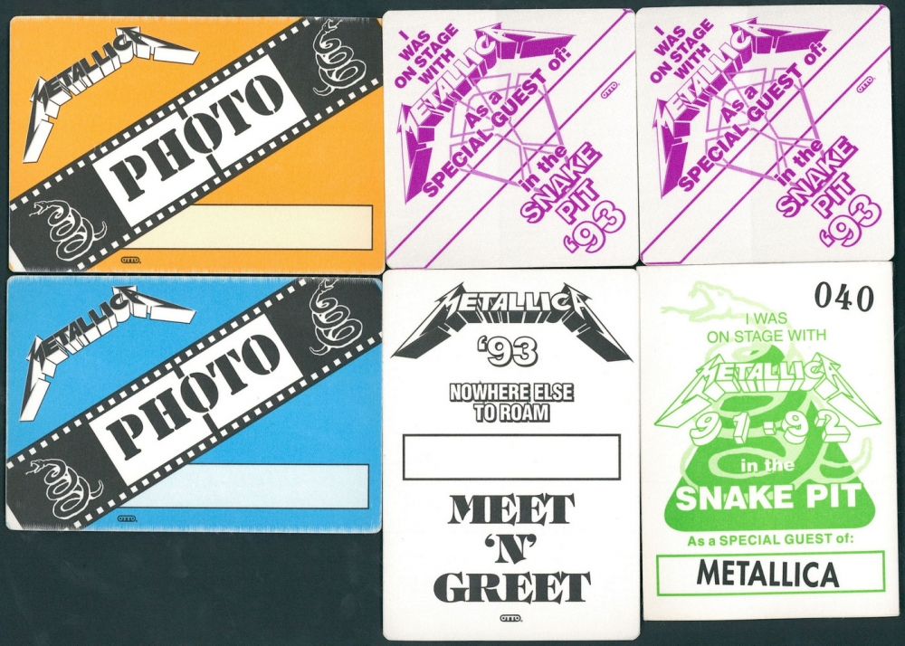 Online sports memorabilia auction pristine auction lot of 6 metallica items with 2 photo passes 1 m4hsunfo Gallery
