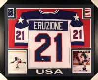 "Mike Eruzione Signed Team USA ""Miracle on Ice"" 35"" x 43"" Custom Framed Jersey (JSA COA)"