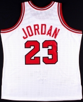 "Michael Jordan Signed LE ""The Shrug"" Bulls Authentic Mitchell & Ness On-Court Jersey #4/23 (UDA COA) at PristineAuction.com"