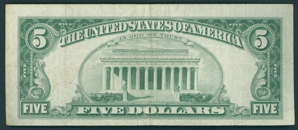1963 Us 5 Five Dollar Red Seal Silver Certificate Note At
