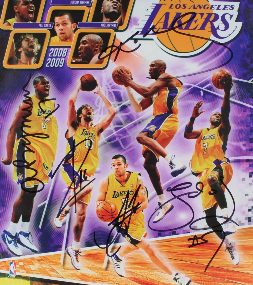 4e72a9c1755d 2008-2009 Lakers Team-Signed 11x14 Photo with (5) Signatures Including  Andrew