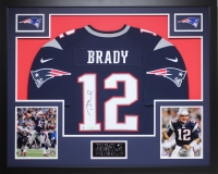 "Tom Brady Signed Patriots 35"" x 43"" Custom Framed Jersey (Steiner COA & TriStar) at PristineAuction.com"