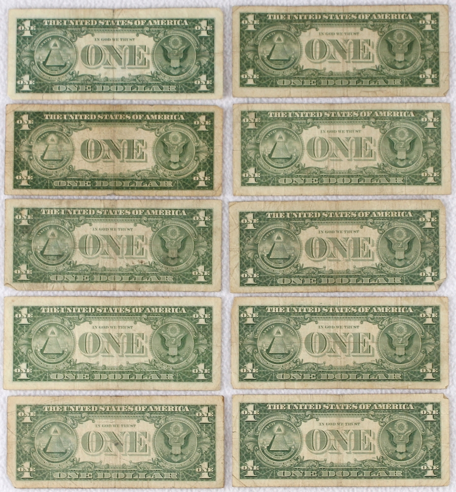 Online sports memorabilia auction pristine auction lot of 10 us 1 one dollar silver certificate notes with 1935 note xflitez Images