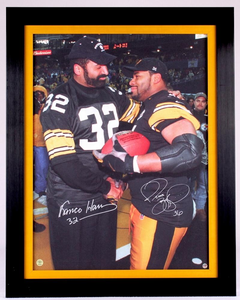 e3e6e6264 ... Pittsburgh Steelers Pro Football Jerome Bettis Franco Harris Signed  Steelers 25x32 Custom Framed Canvas ( Franco Hologram TSE ...