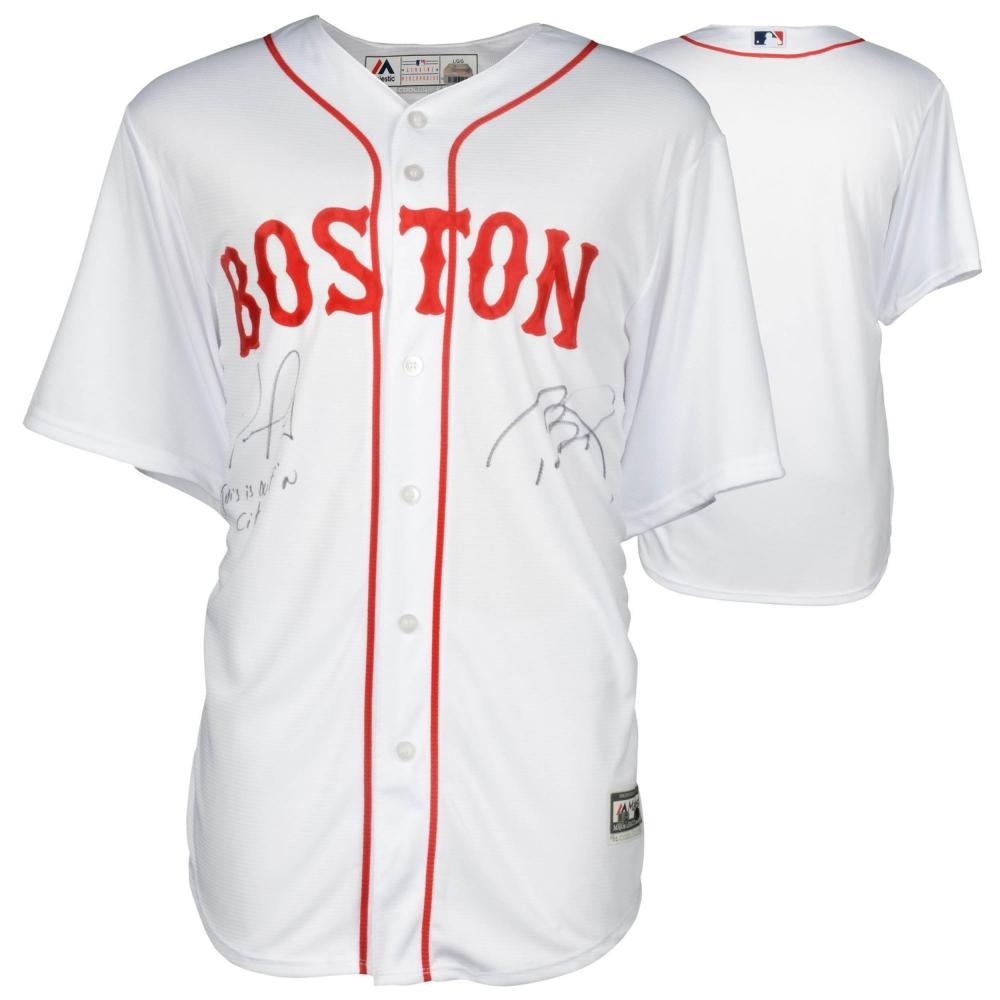 Tom Brady   David Ortiz Dual-Signed Red Sox Jersey Inscribed