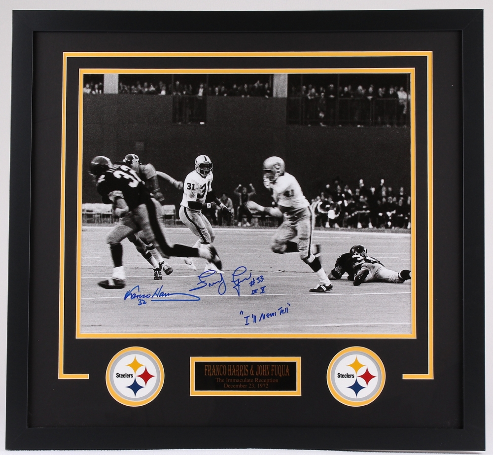 Franco harris amp john fuqua signed quot the immaculate reception quot steelers