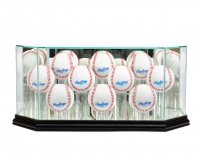 Premium 10-12 Baseball Octagon Glass Display Case with Mirrored Black Wood Base & Mirrored Back (New) at PristineAuction.com