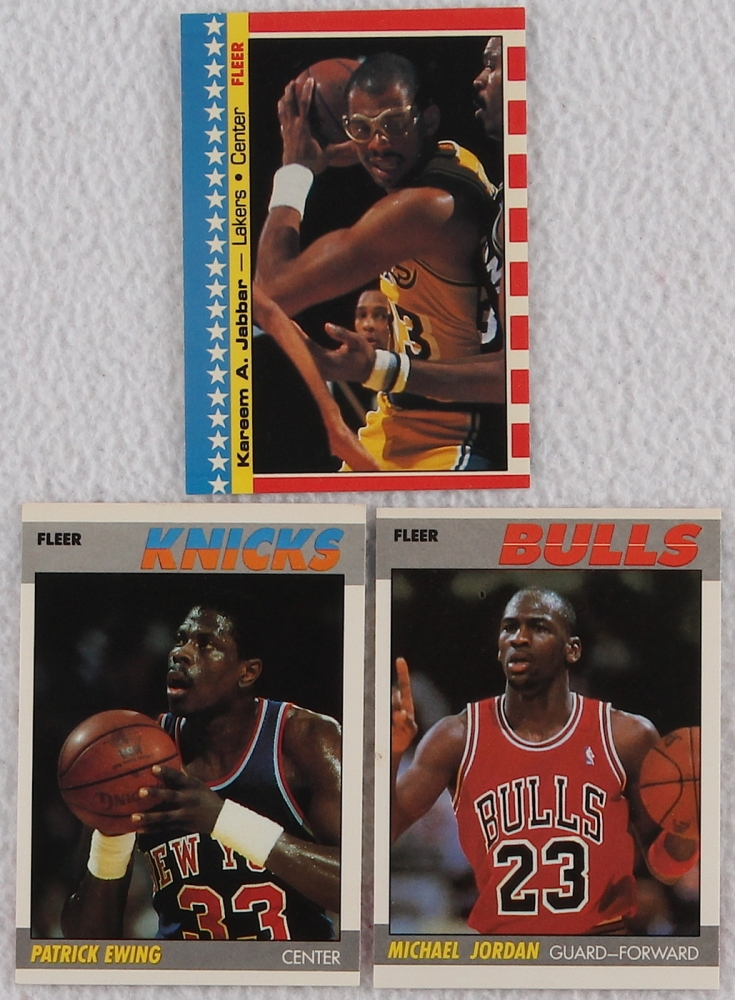 1987 88 fleer complete set of 132 basketball cards in protective sheets with