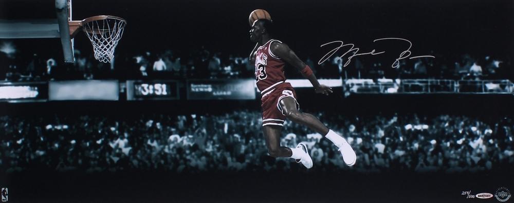 Michael Jordan Signed LE Bulls 30x12 1988 Slam Dunk Photo UDA COA