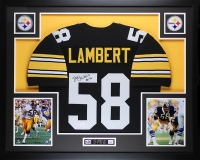 "Jack Lambert Signed 35x43 Custom Framed Jersey Display Inscribed ""HOF 90"" (JSA COA) at PristineAuction.com"