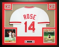 "Pete Rose Signed 35x43 Custom Framed Jersey Inscribed ""Hit King"" (JSA COA) at PristineAuction.com"