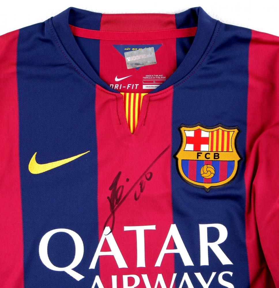 dfe38d3e963 Lionel Messi, Neymar Jr. & Luis Suarez Multi-Signed FC Barcelona Home Jersey