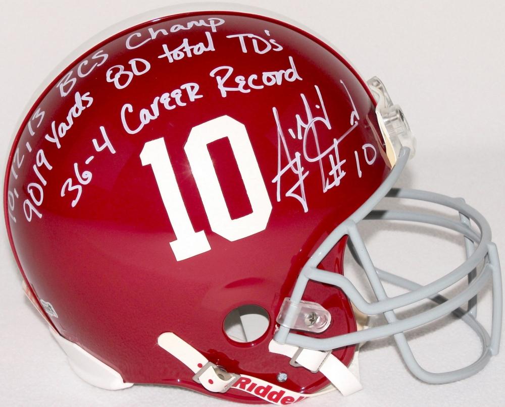 Aj Mccarron Signed Alabama Full Size Authentic Pro Line Helmet With