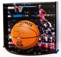 "Michael Jordan Signed Official NBA Game Ball with Custom ""Gatorade Slam"" Large Curve Display (UDA COA) at PristineAuction.com"