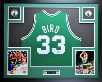 "Larry Bird Signed Celtics 35"" x 43"" Custom Framed Jersey (PSA COA & Bird Hologram)"