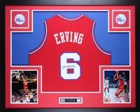 """Julius Erving Signed 35"""" x 43"""" Custom Framed Jersey (JSA COA) at PristineAuction.com"""