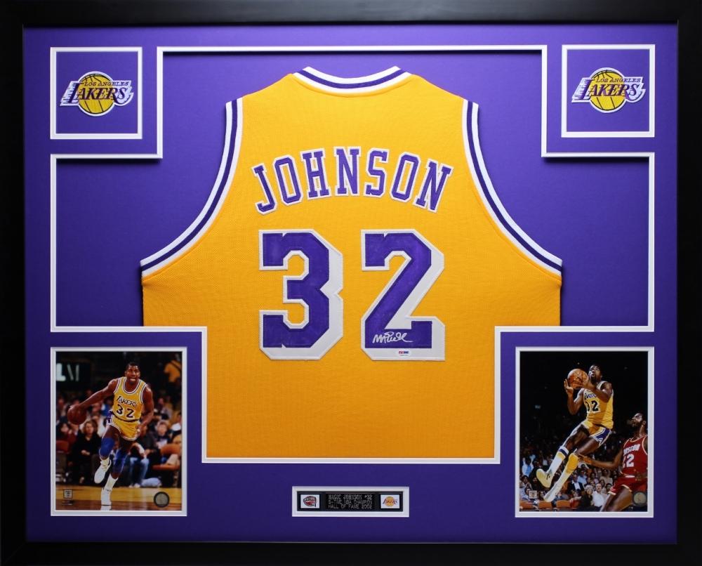 e51b3e86a84 Magic Johnson Signed Lakers 35 Magic Johnson Signed Lakers 35x43 Custom  Framed Jersey ...