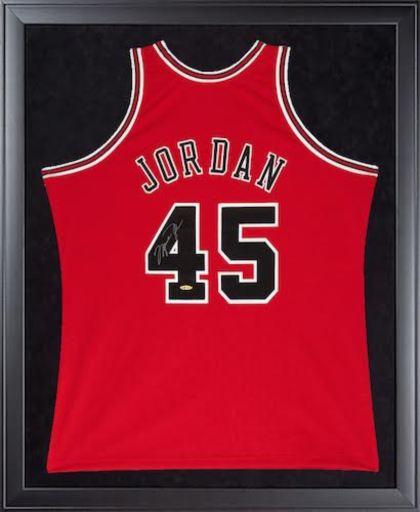 Michael Jordan Signed Bulls 32x44 Custom Framed Authentic Mitchell & Ness #45 Jersey (UDA COA) at PristineAuction.com