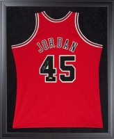Michael Jordan Signed Chicago Bulls 32x44 Custom Framed Jersey (UDA COA)