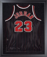 Michael Jordan Signed Bulls 32x44 Custom Framed Authentic Mitchell & Ness Throwback Jersey (UDA COA)