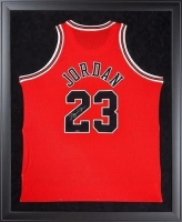 Michael Jordan Signed Bulls 32x44 Custom Framed Authentic Mitchell & Ness Jersey (UDA COA)