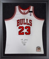 "Michael Jordan Signed Limited Edition Bulls 32x44 Custom Framed Authentic Mitchell & Ness Jersey Inscribed ""The Shrug Vs Portland 6/30/1992"" (UDA COA)"