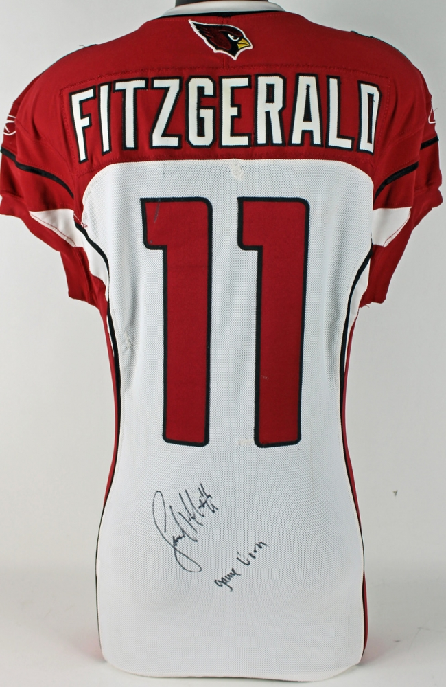 793a386a5 Larry Fitzgerald Signed 2010 Game-Used Cardinals Authentic Reebok Jersey  Inscribed
