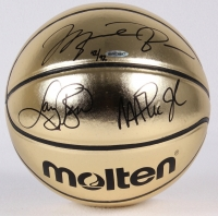 Michael Jordan, Larry Bird & Magic Johnson Signed LE Molten Gold Basketball (UDA COA)