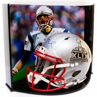 "Tom Brady Signed Patriots ""Super Bowl XLIX Champions"" Full-Size Helmet with Custom Acrylic Curve Display Case (TriStar Hologram)"