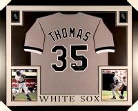 "Frank Thomas Signed White Sox 35x43 Custom Framed Jersey Inscribed ""Big Hurt"" (JSA COA)"