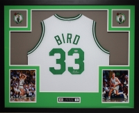 "Larry Bird Signed 35"" x 43"" Custom Framed Jersey (PSA COA) at PristineAuction.com"
