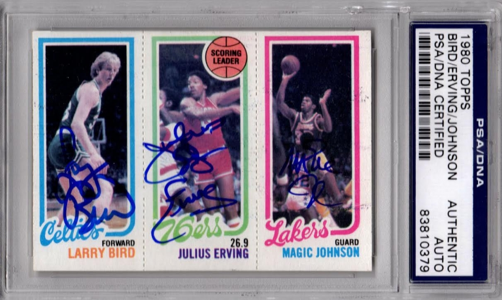 Larry Bird, Magic Johnson, & Julius Erving Signed 1980 Topps Rookie Card (PSA Encapsulated) at PristineAuction.com