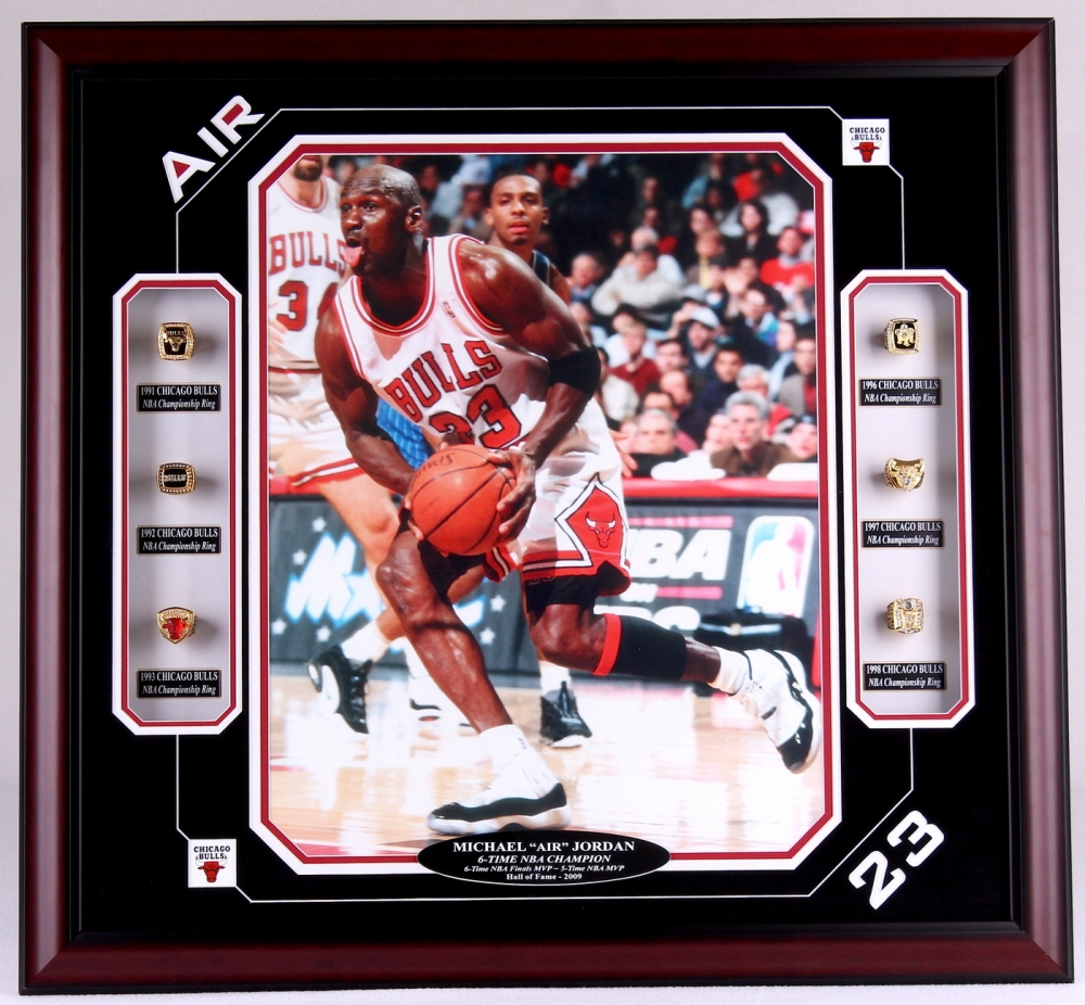 Michael Jordan Bulls 27x29 Custom Framed Display Featuring ...
