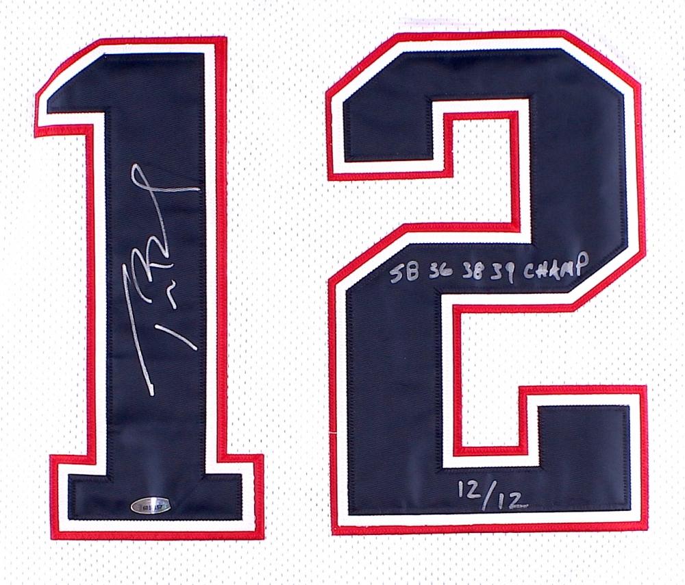 tom brady signed patriots authentic reebok jersey inscribed  u0026quot sb 36 38 39 champ u0026quot  l  e 12 of 12