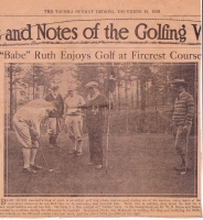 Babe Ruth Signed Vintage 8x10 Photo from December 1926 of Ruth Golfing in Tacoma, WA (JSA LOA) at PristineAuction.com