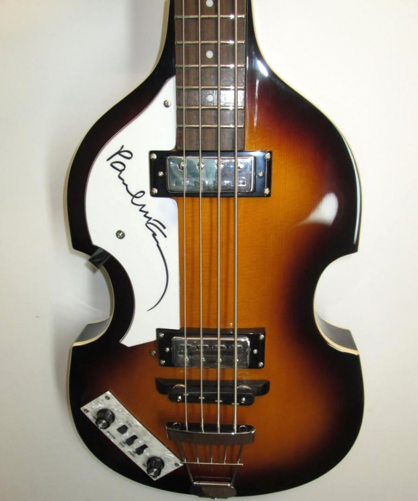Paul McCartney Signed Left Handed Hofner Beatle Bass Guitar JSA LOA At PristineAuction