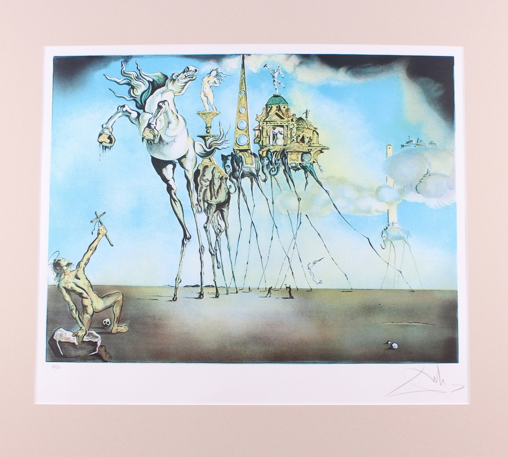 Online sports memorabilia auction pristine auction salvador dali signed 1982 temptation of saint anthony 22x30 le matted lithograph on archival biocorpaavc