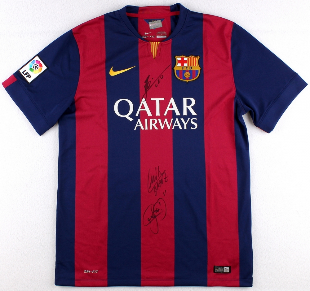 7b1776b9ff1 CLICK TO ENLARGE. Lionel Messi, Neymar Jr. & Luis Suarez Multi-Signed FC  Barcelona Home Jersey