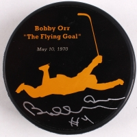 "Bobby Orr Bruins Signed ""The Flying Goal"" Commemorative Puck (Orr COA)"