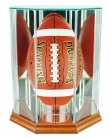 Premium Octagon Upright Football Display Case with Mirrored Back & Walnut Wood Base (New) at PristineAuction.com