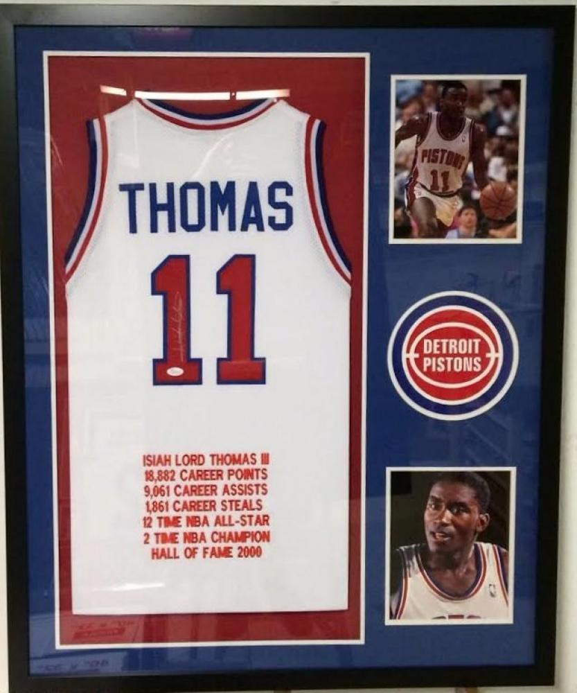 19b744093 Isiah Thomas Signed Pistons 34x42 Custom Framed Career Highlight Stat Jersey  (JSA COA) at