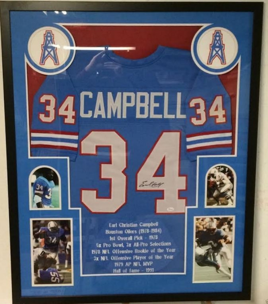 ad01ca592 Earl Campbell Signed Oilers 34x42 Custom Framed Career Highlight Stat Jersey  (JSA COA) at
