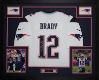 "Tom Brady Signed Patriots 35"" x 43"" Custom Framed Jersey (Steiner COA & TriStar)"