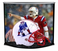 Tom Brady Signed Patriots Throwback Full-Size Helmet with Custom Acrylic Curve Display Case (TriStar Hologram)