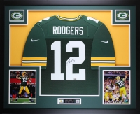 "Aaron Rodgers Signed Packers 35"" x 43"" Custom Framed Jersey (Fanatics)"