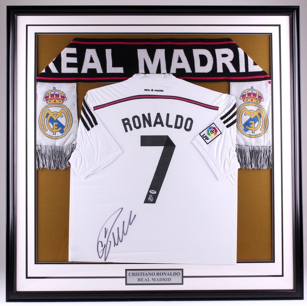 ab5ad7ae7f1 Cristiano Ronaldo Signed Real Madrid 43x43 Custom Framed Jersey Display (PSA  COA) at PristineAuction