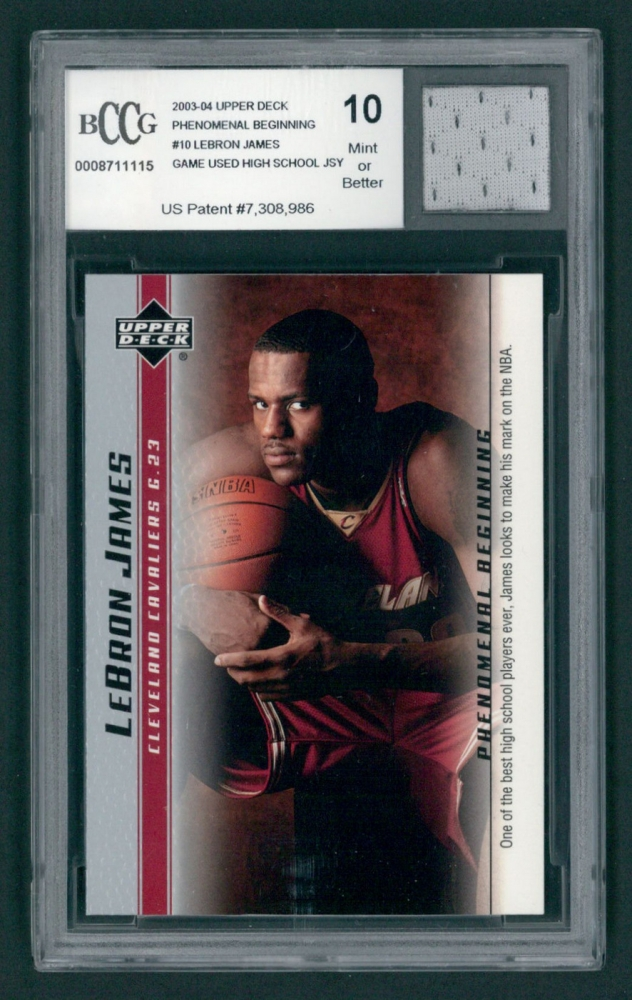 lebron rookie card. lebron james 2003-04 upper deck phenomenal beginnings #10 with piece of game used lebron rookie card