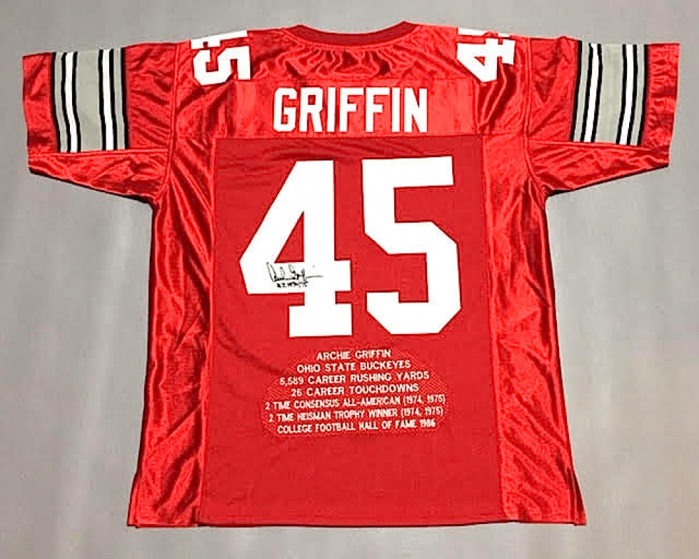 Archie Griffin Signed Ohio State Career Highlight Stat Jersey Inscribed